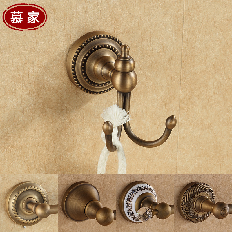 Continental retro full copper coat hook bathroom accessories antique blue and white ceramic carved hook coat hook bathroom hook
