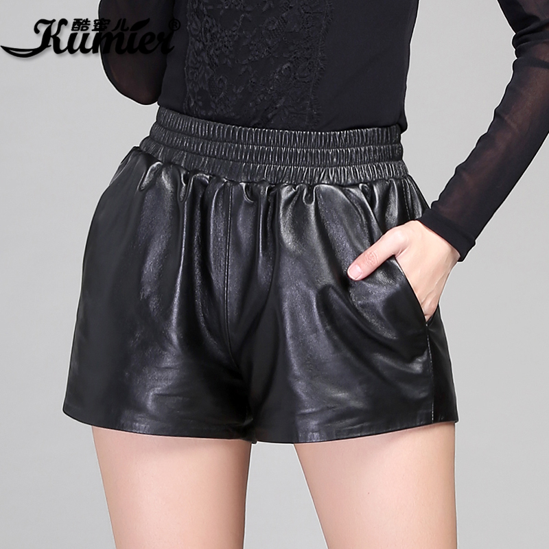 Cool claudel leather shorts female wide leg pants shorts leather pants leather shorts elastic pants haining sheep skin leather free shipping