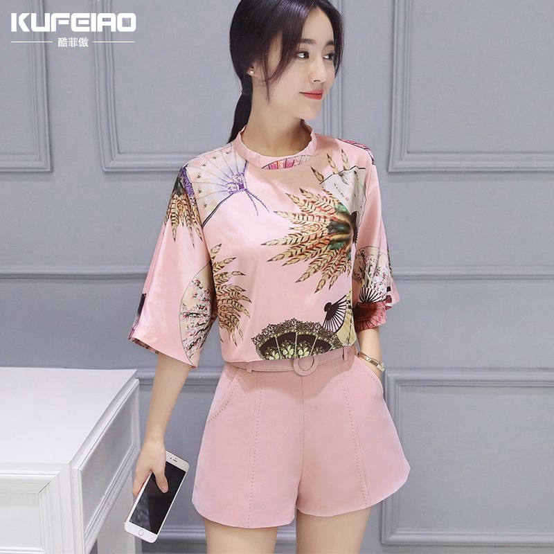 Cool philippine proud of the 2016 summer new retro print short sleeve piece fashion casual wide leg pants suit female tide