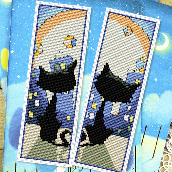 Cool stitch new living room suite moonbeams bookmarker models couple models cute cartoon cat lovers