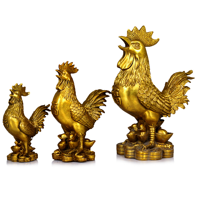Copper copper copper ingots rooster rooster chicken feng shui ornaments tuba lucky to help marriage home decoration crafts
