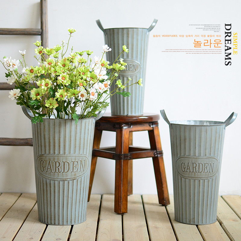 Corrugated metal flower bucket small fresh american country french clothing shop home sample room soft furnishings vases