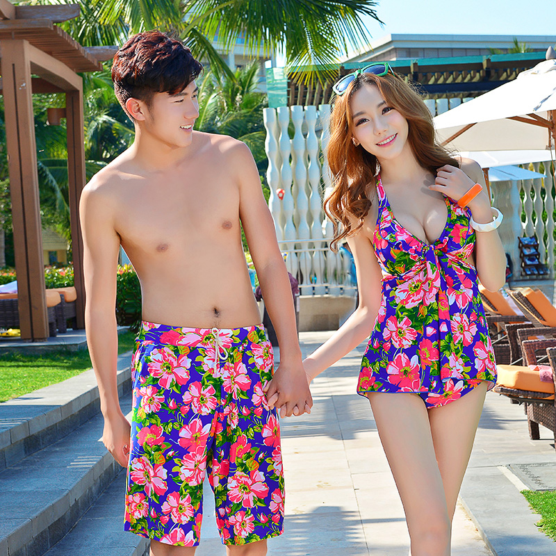 Couple female swimsuit steel prop gather bikini fashion new spa bikini swimsuit male beach pants +