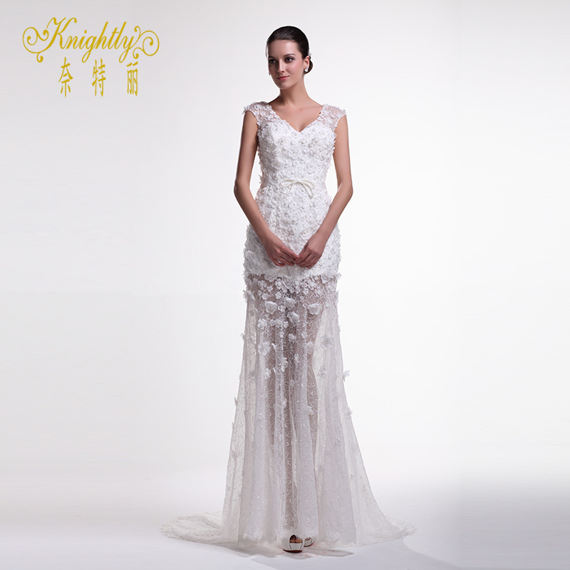 Courtyard knightly knightly wedding dress wedding dress sexy ladies v-neck lace wedding dress elegant perspective
