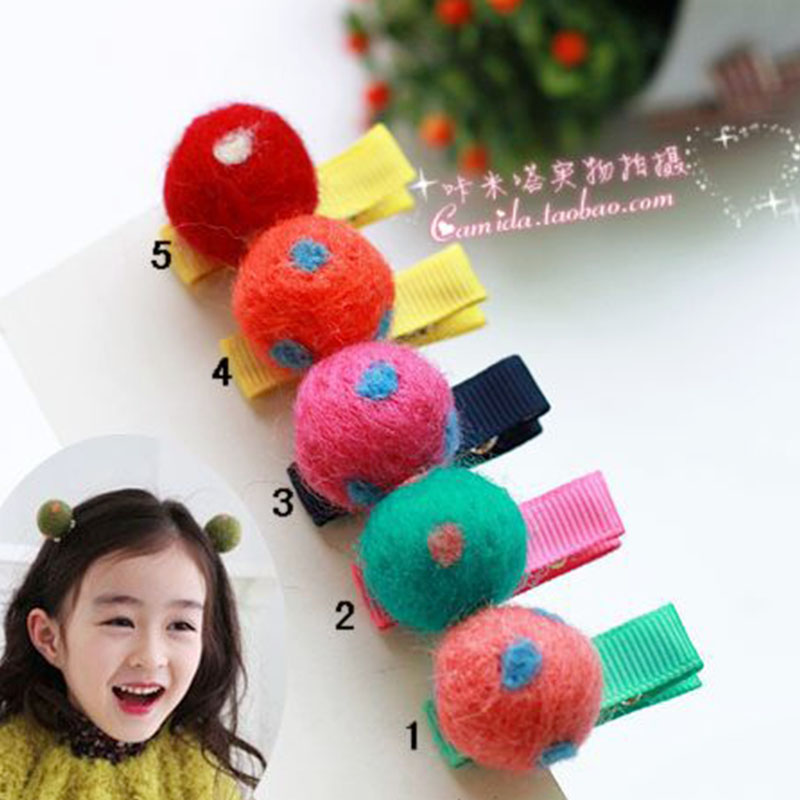 Cracking meters despair korean children headdress hair accessories hairpin baby wool balls hairpin female child princess cute accessories