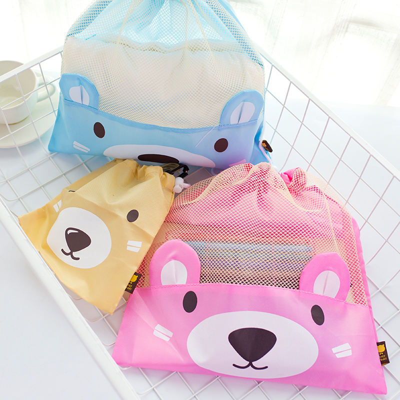 Cracking pakistani bear japan and south korea stationery children's painting art student stationery pouch tightened with debris beam port bags