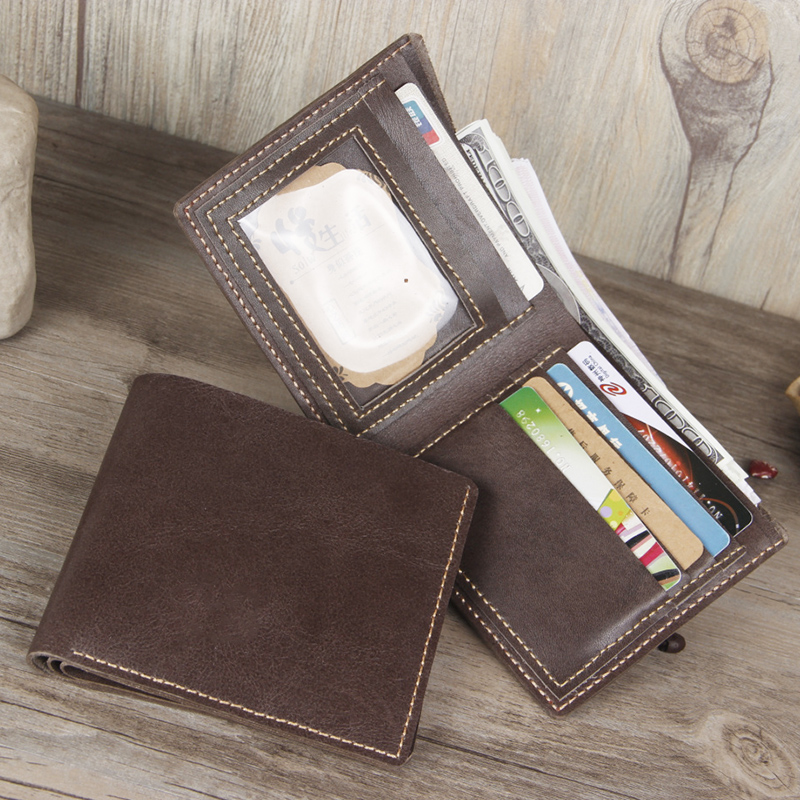 Crazy horse hide leather first layer of leather men's wallet simple handmade casual first layer of leather men's wallet leather wallet cross section