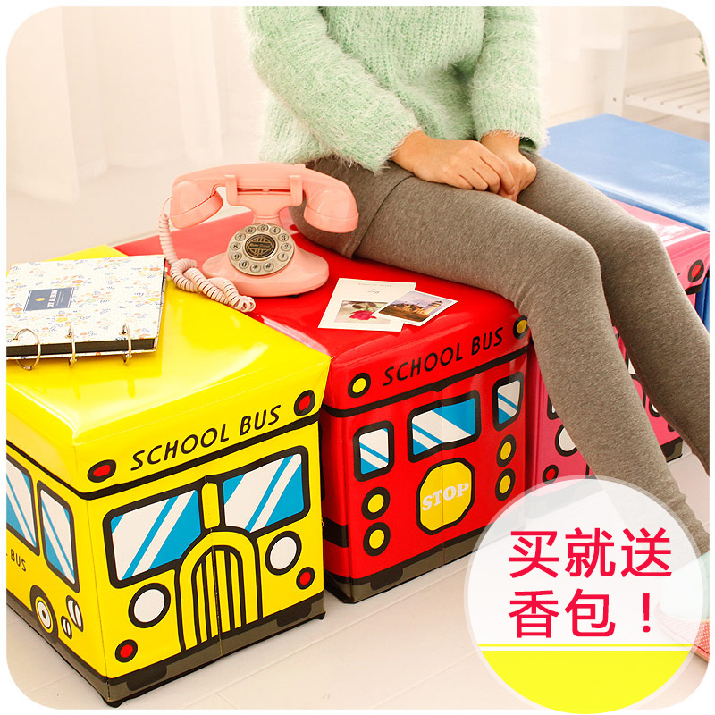 Creative cartoon car storage storage stool can sit folding chair small sofa stool multifunctional toy storage box
