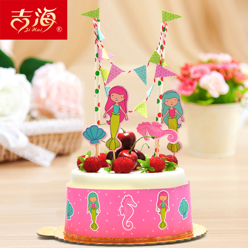 Creative cute birthday party supplies diy cake baking cake decorating decorative accessories dress flag flags