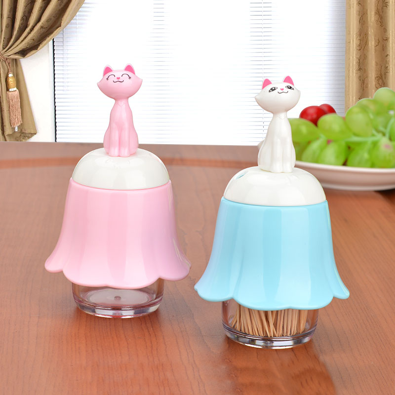 Creative cute cartoon cat portable plastic toothpick toothpick box home living room table home toothpick bottle