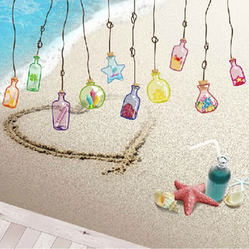 Creative cute children's room bedroom living room wall stickers window glass window stickers stickers shop window flower sticker drift bottles specials