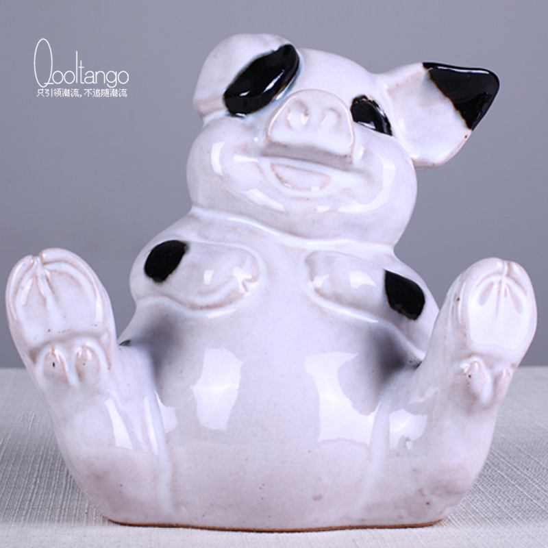 Creative home decor children's room animal puppy euclidian ceramic tabletop ornaments living room furnishings crafts