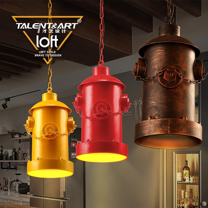 Creative personality wrought iron loft industrial wind over the living room cafe bar restaurant chandelier chandelier column road fire hydrant