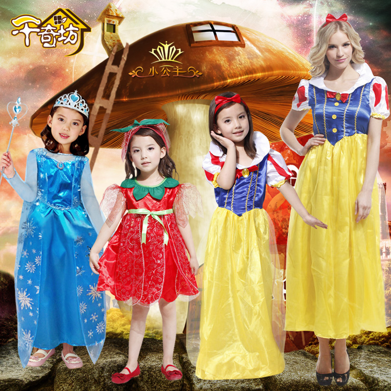 Creepy children's place halloween masquerade costumes snow white princess dress skirt dress cos performance clothing