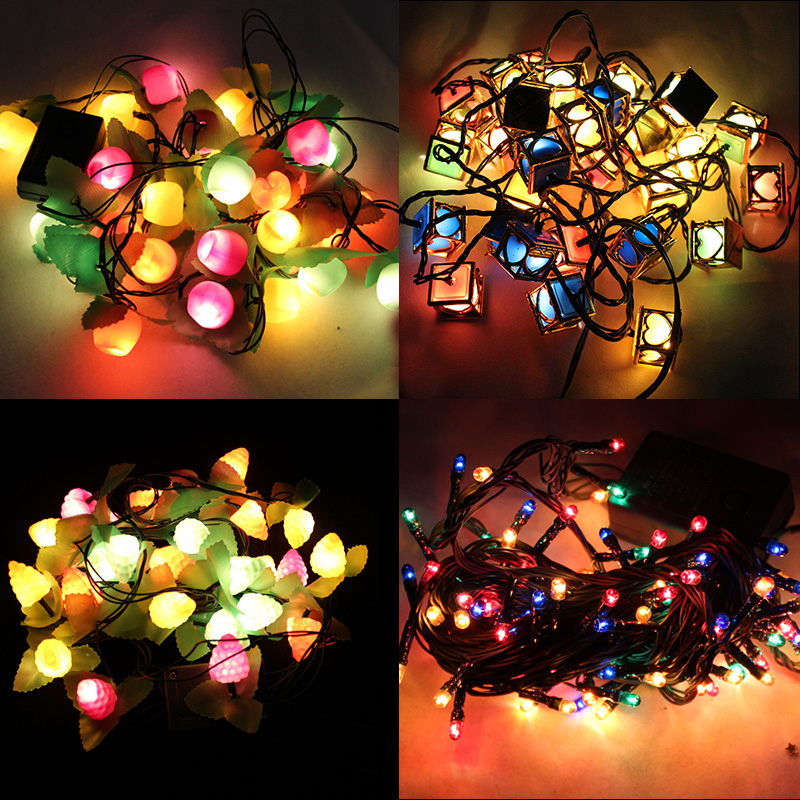 Creepy square christmas decorations christmas snowflake string lights new year spring festival bar ktv fruit pinecone christmas tree lights