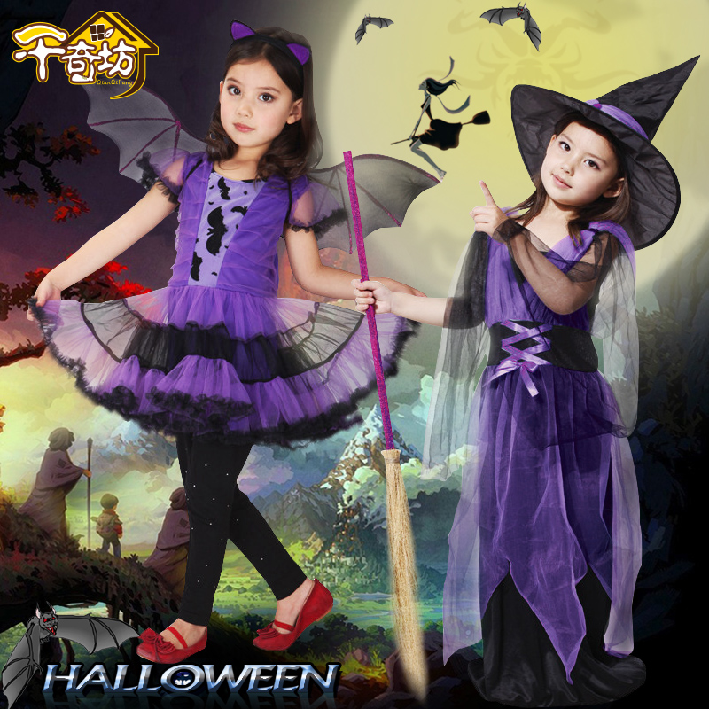 Creepy square halloween children's stage performance apparel children's suits gauze female witch witch clothes