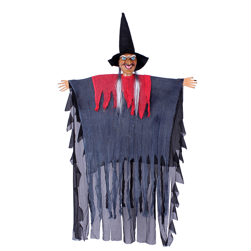 Creepy square halloween decorations halloween supplies props witch voice rotating luminous voice