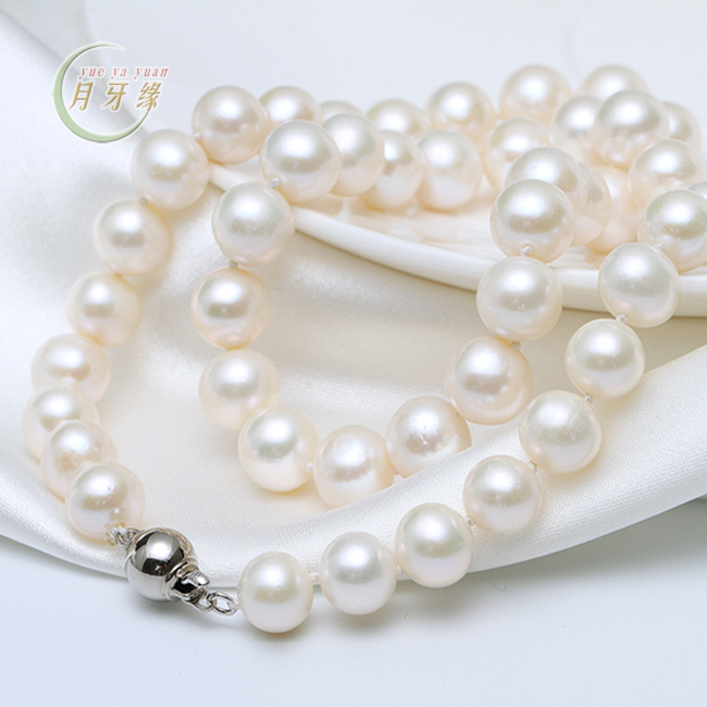 Crescent edge jewelry natural freshwater pearl necklace genuine 9- 10mm nearly round white pearls for her mother