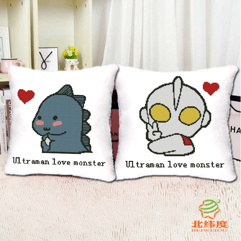 Cross stitch pillow one pair of lovers altman played little monster personalized cushions cute cartoon children pillowslip