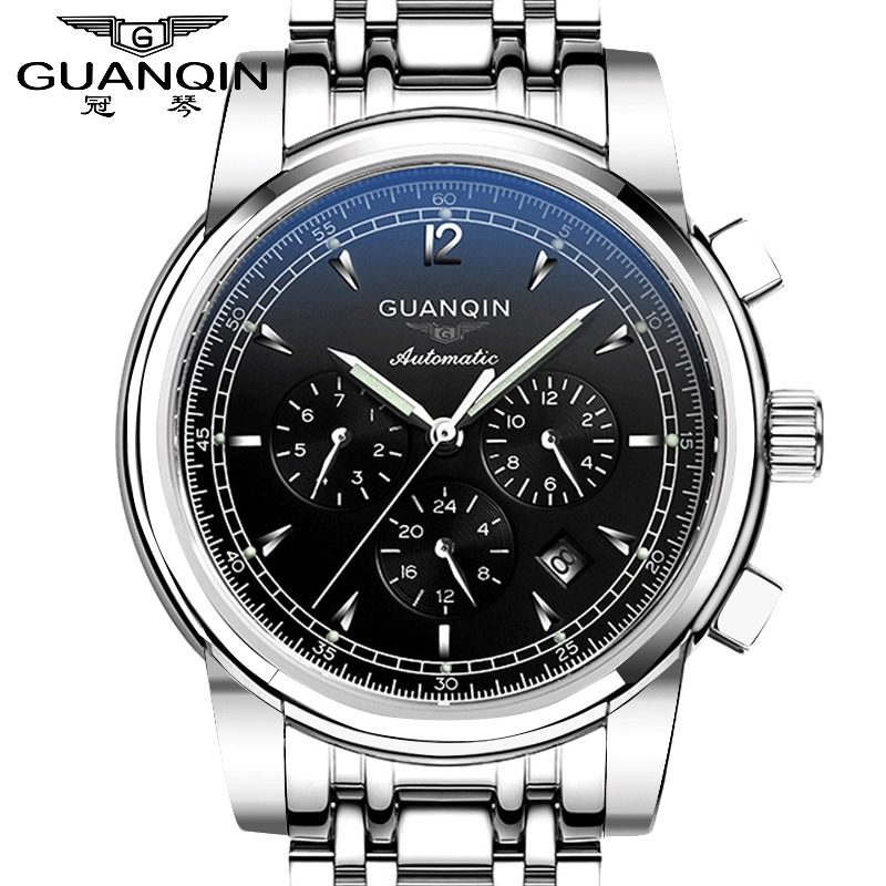Crown piano authentic watches automatic mechanical watch male watch steel belt business casual multifunction waterproof luminous watches tide