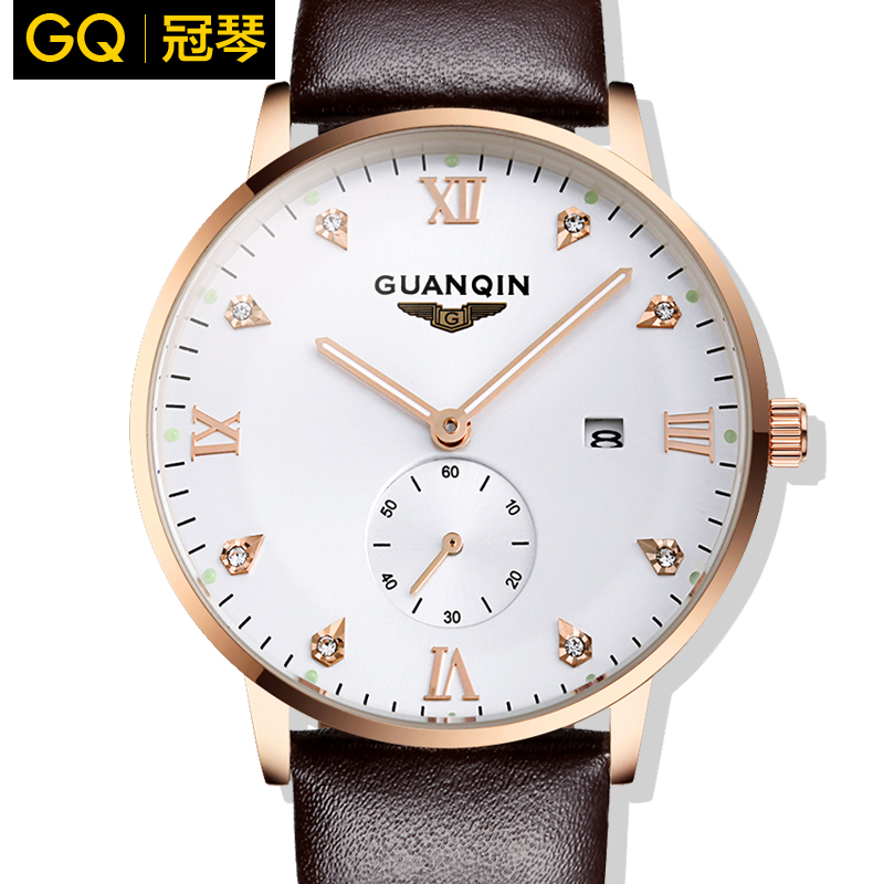 Crown piano authentic watches quartz watch really belt slim waterproof luminous watches casual watch men's watch small three needle