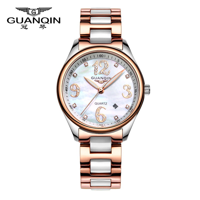 Crown piano genuine female korean fashion waterproof white ceramic watches diamond ladies watch quartz watch