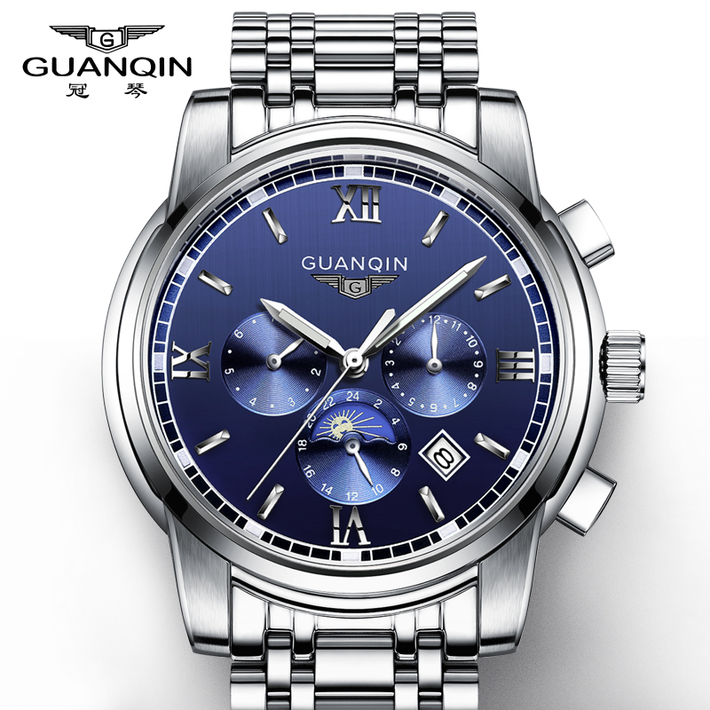 Crown piano watch men watch fashion hollow steel automatic mechanical watch business men watch waterproof multifunction watch