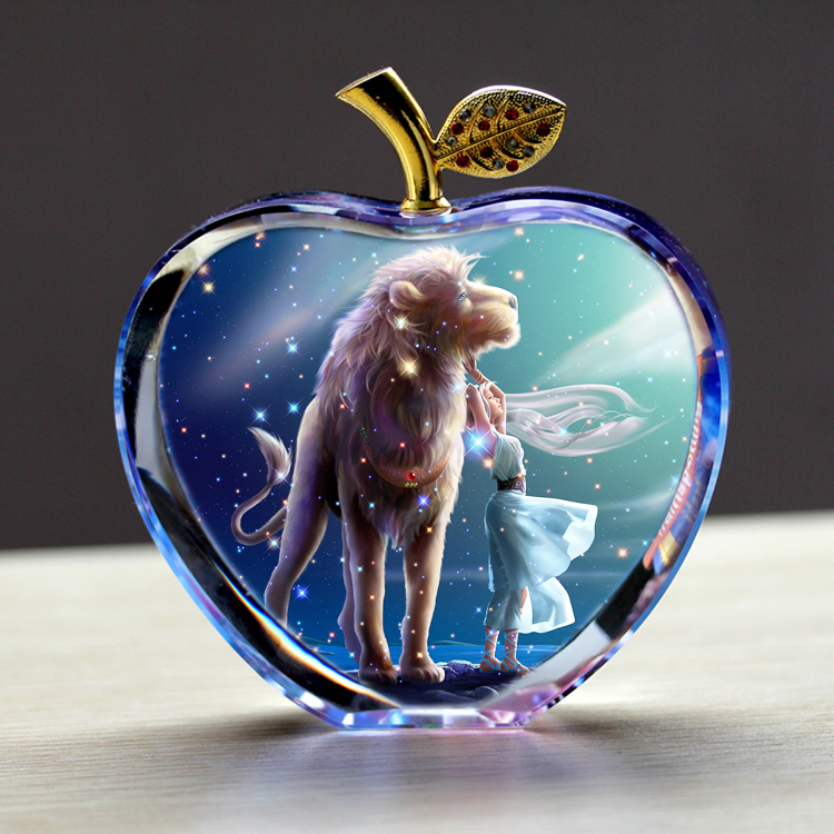 Crystal apple christmas eve gift dream twelve constellation leo family christmas gift to send his girlfriend to marry