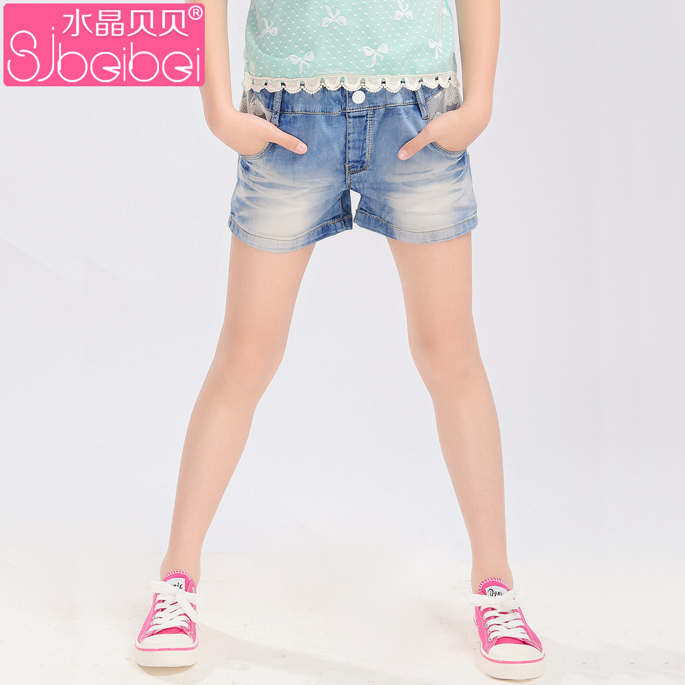 9e279352d Get Quotations · Crystal babe kids girls summer children's denim shorts  shorts girls denim trousers korean version of the