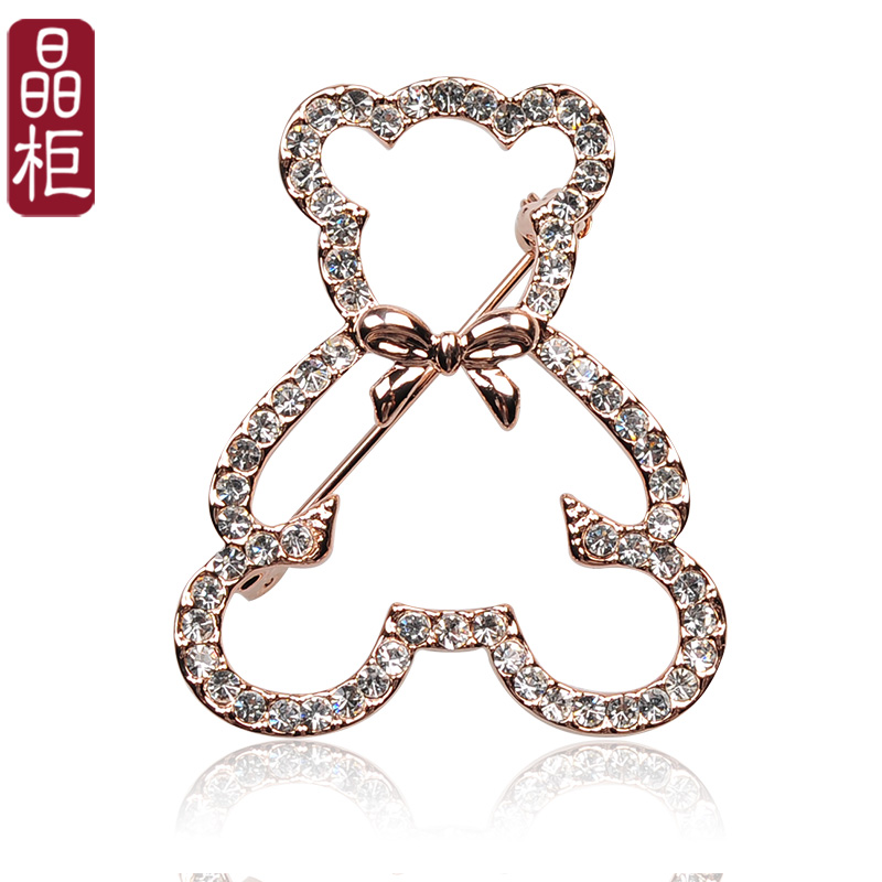 Crystal counters authentic korean fine austrian rhinestone brooch bear brooch pin female models of luxury gifts