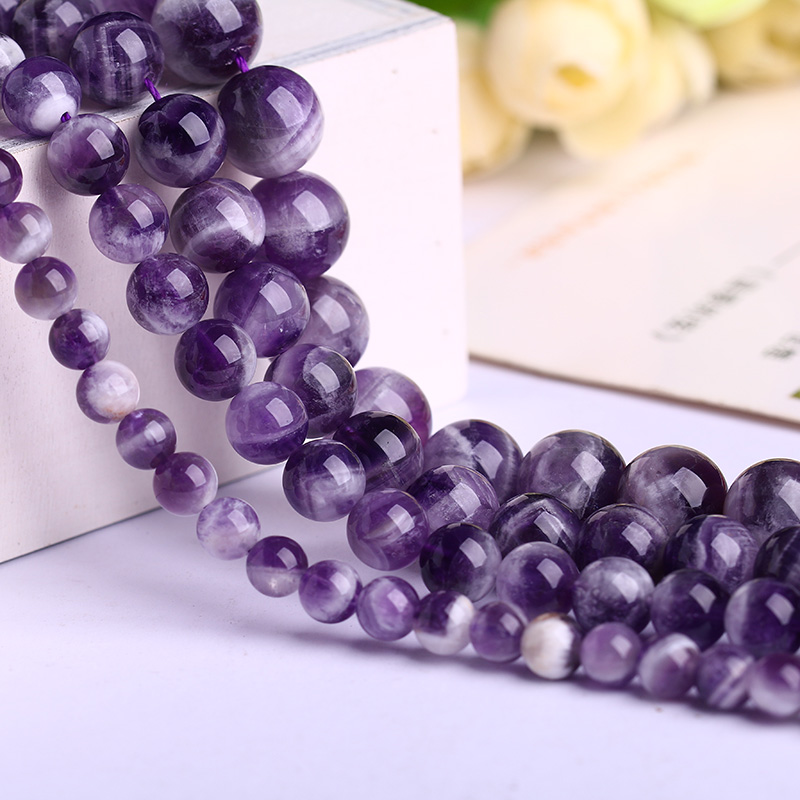 Crystal court tsz diy crystal beaded jewelry fantasy amethyst natural amethyst beads loose beads semi finished round beads