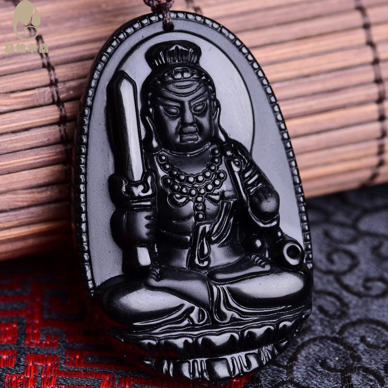 Crystal girl crystal obsidian fudo buddha is a chicken natal buddha patron saint of men pendant necklace female models shou