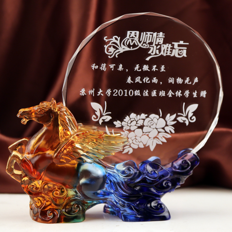 Crystal glass ornaments horse homecoming graduation commemorative creative business gifts to send teachers teacher's day gift practical