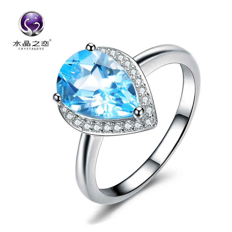 Crystal love 925 silver topaz ring female natural crystal simple valentine's day gift to send his girlfriend a gift