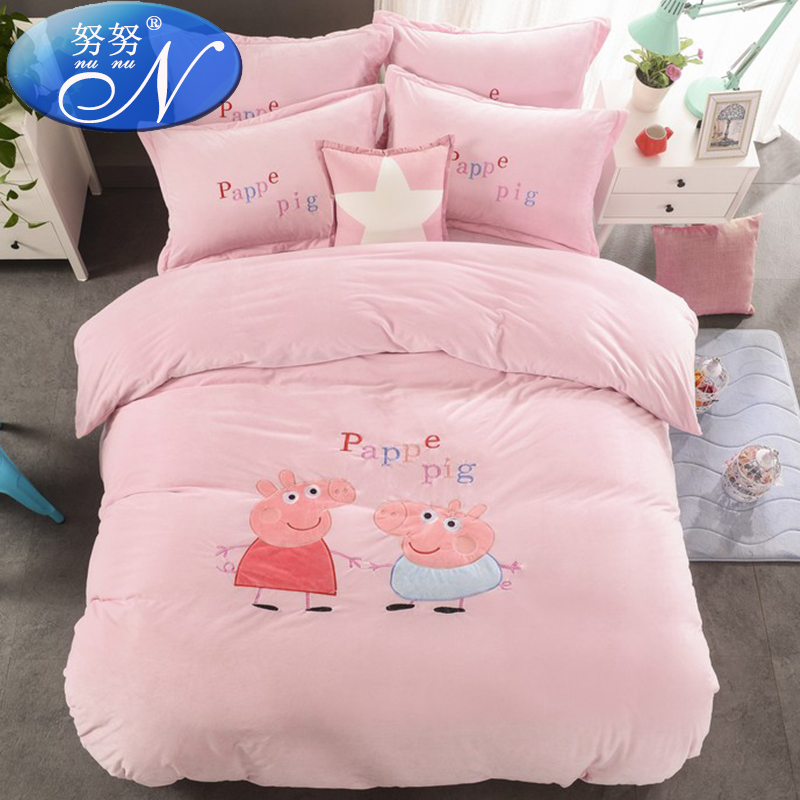 Crystal velvet family of four coral velvet thick warm children's cartoon can love bed enterprises bed linen quilt 1.51.8m bed bed korean