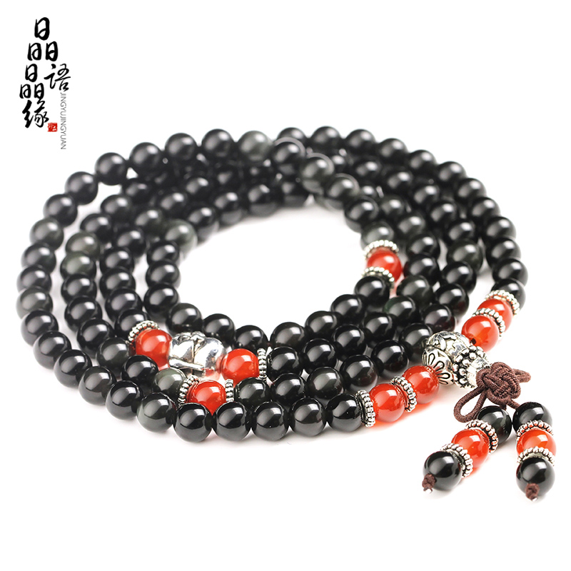 Crystal word crystal edge natural crystal rainbow obsidian eye bracelet 6mm108 stars rosary beads tibetan silver bracelets mi le buddha