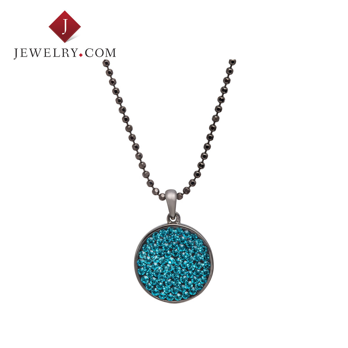 Crystaluxe blue swarovski crystal sterling silver circle pendant female personality style new goods