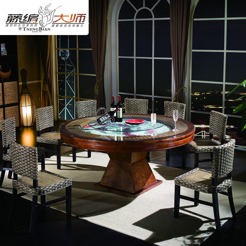 Custom hotel restaurant project made hotel clubs restaurant round table round rattan rattan dining table dining chair combination