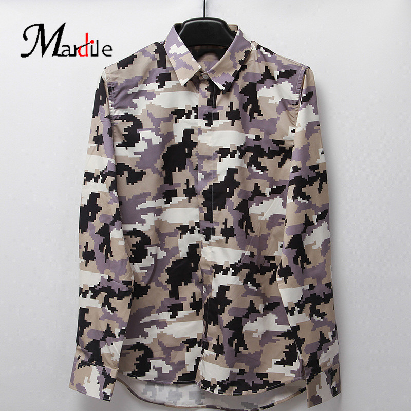 Custom spring and summer 2016 european and american minimalist mardile crooner camouflage printed cotton men's long sleeve shirt on clothes