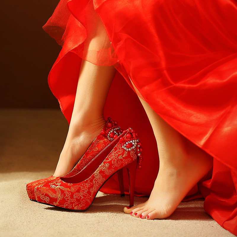 Custom wedding shoes wedding shoes red bridal shoes wedding pearl satin embroidered shoes women shoes waterproof single shoes high heels