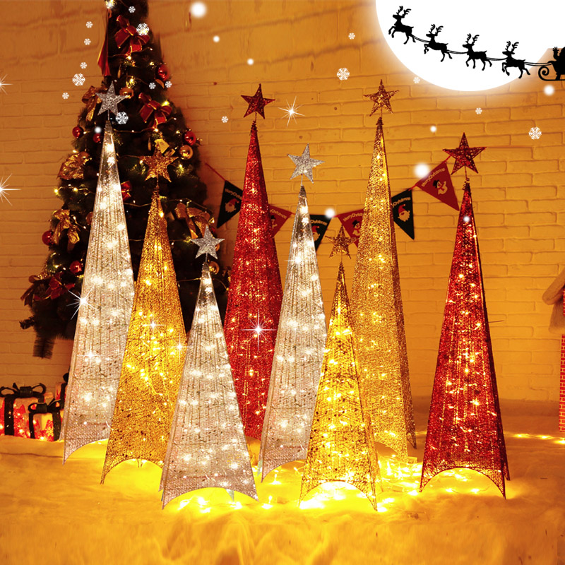 Custom wrought iron christmas tree silver and gold christmas decorations package corners tower iron wrought iron tree luminous tree