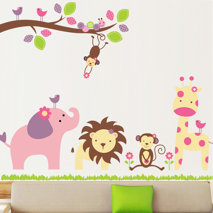 Cute cartoon companion animals kindergarten children's room wall stickers waterproof removable stickers bedroom decoration necessary