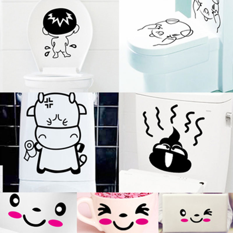 Cute cartoon sticker wall stickers bathroom toilet toilet toilet lid toilet toilet waterproof stickers affixed stickers creative