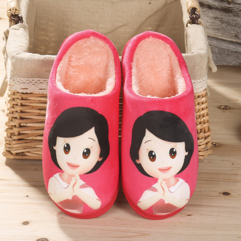 Cute cartoon winter home cotton slippers home slippers winter indoor cotton slippers couple of men and women warm wool slippers thick bottom