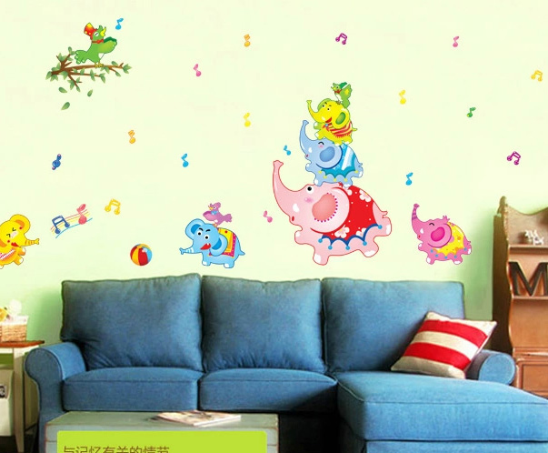 Cute little elephant environmental children's room cartoon removable wall stickers stickers living room bedroom baby baby