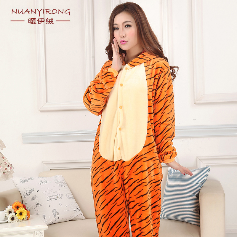 Cute love apartment flannel tigger stereo animal cartoon piece pajamas couple of men and women toilet tracksuit