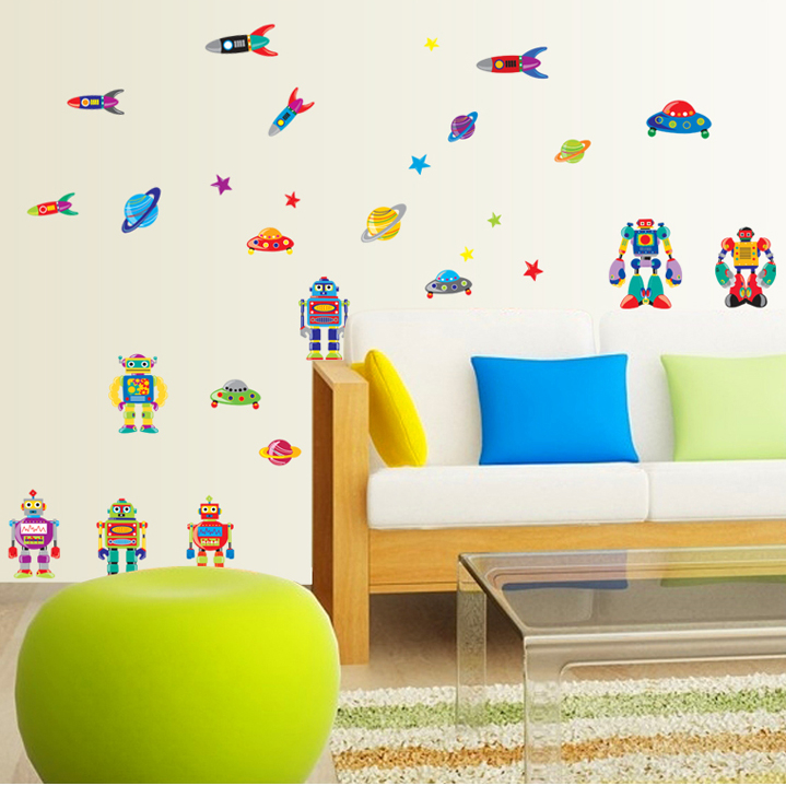 Cute robot film adhesive wall stickers environmental removable wall stickers living room glass wall stickers cartoon wall stickers