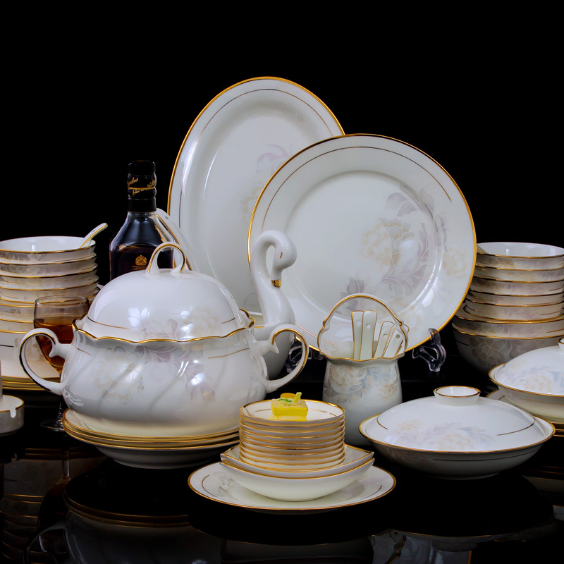 Cutlery set 69 jingdezhen ceramic bone china porcelain dishes suit phnom penh gold korean western style home