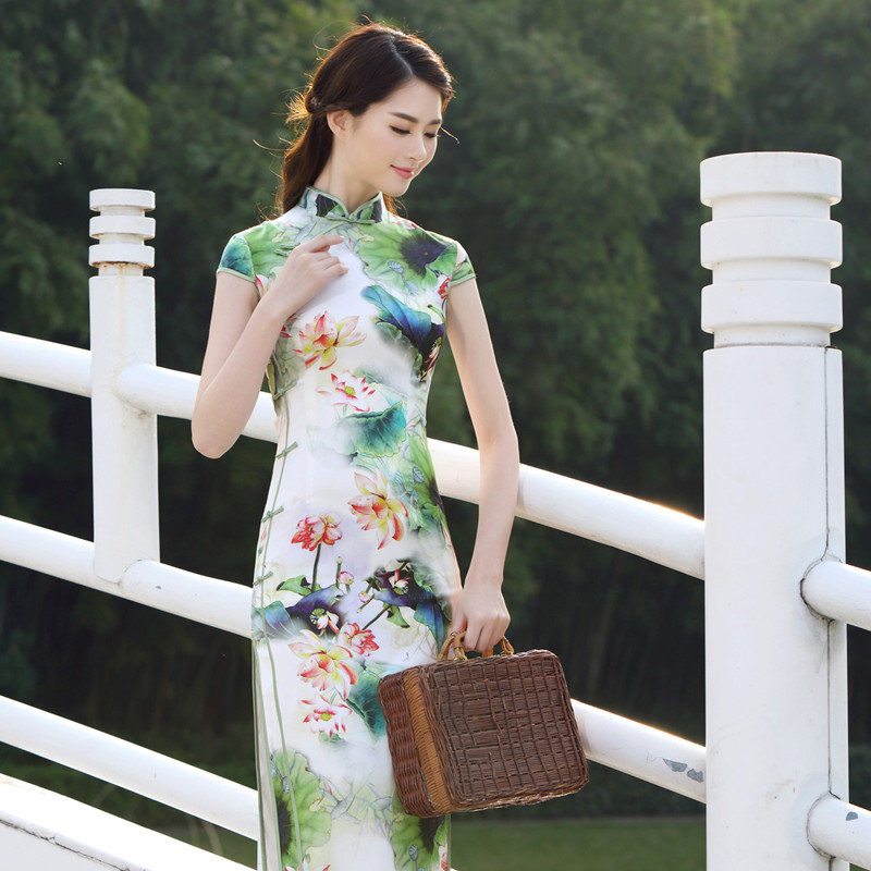 Dai exquisite 2016 new spring and summer mulberry silk heavy silk cheongsam dress modified retro slim long section cheongsam dress
