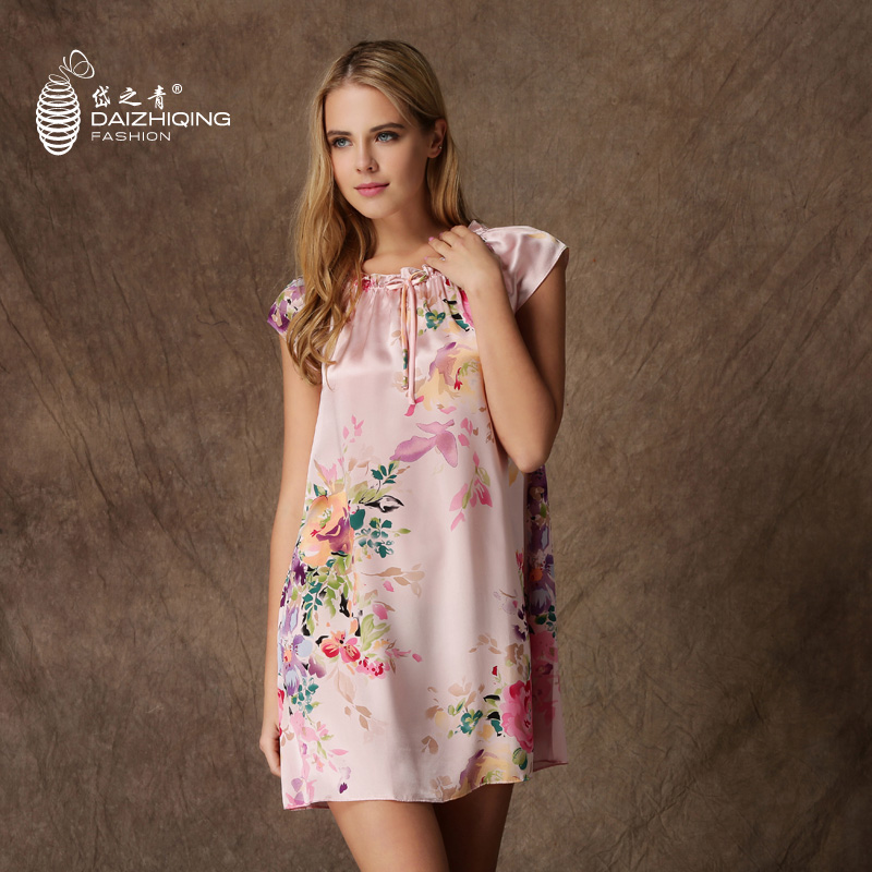 3eae032ff3 Get Quotations · Dai qing s silk thin section loose princess dress silk  printing female round neck short sleeve silk